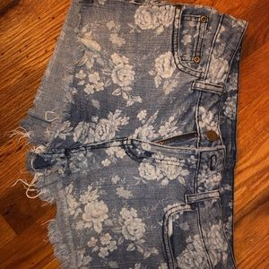 Ripped Denim Shorts Floral
